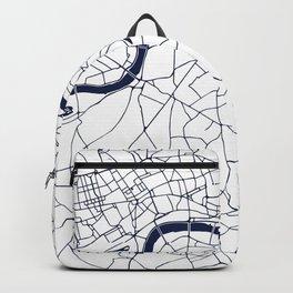 London White on Navy Street Map Backpack