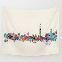 dc Wall Tapestries featuring Washington dc skyline by bri.buckley