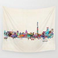 washington Wall Tapestries featuring Washington dc skyline by bri.buckley