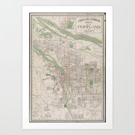 Vintage Map of Portland Oregon (1912) Art Print