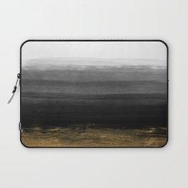 Black and Gold grunge stripes on clear white backround I - Stripes - Striped Laptop Sleeve
