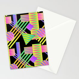 Neon Ombre 90's Striped Shapes Stationery Cards