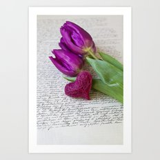 pink spring Tulips with heart Art Print