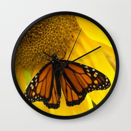 Monarch and Sunflower Wall Clock