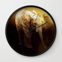 The cute elephant calf Wall Clock