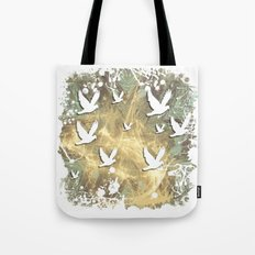 Birds on beige messy kaleidoscope Tote Bag