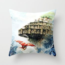 """The castle in the sky"" Throw Pillow"
