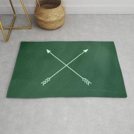 green crossed arrows Rug