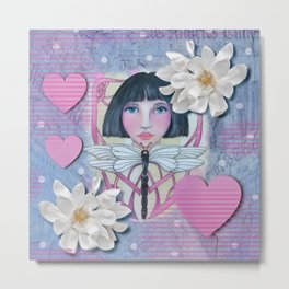 Girl with Dragonfly Metal Print