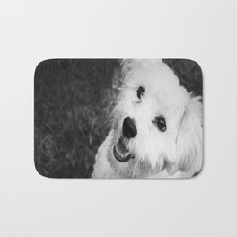A Puppy Saying Hello Black and White Bath Mat