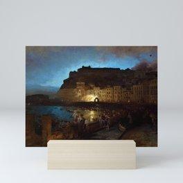 Fireworks in Naples by Oswald Achenbach Mini Art Print