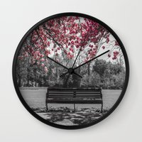 cherry blossom Wall Clocks featuring Cherry Blossom by Claire Doherty