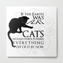 Cats on the Flat Earth Metal Print