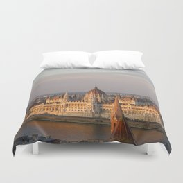 Budpest Sunset over Parliament Duvet Cover