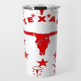 Red & White Texas Longhorn Logo Pattern Art Travel Mug