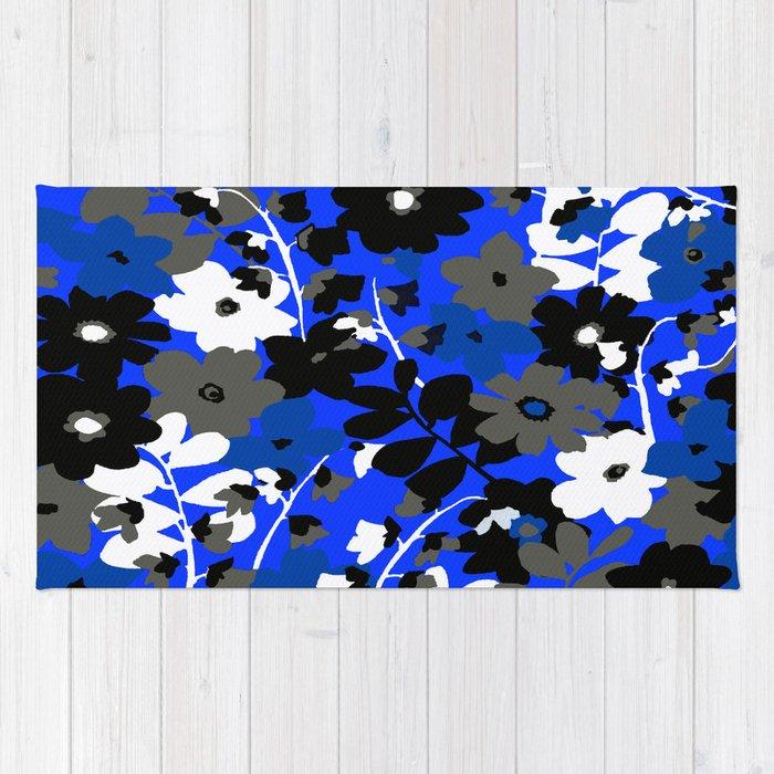 Sunflower Trellis Blue Black Gray And White Toile Rug
