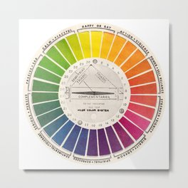 Vintage Color Wheel Art Teaching Tool Rainbow Mood Chart Metal Print
