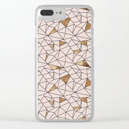 Modern abstract blush pink faux gold geometrical Clear iPhone Case