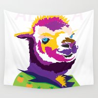 alpaca Wall Tapestries featuring Mr Alpaca in Summer by Mutating Creatures