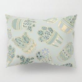 Mint green black faux gold cactus floral Pillow Sham