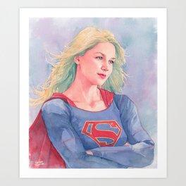 Supergirl watercoor Art Print