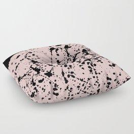 Splat Black on Blush Boarder 2 Floor Pillow