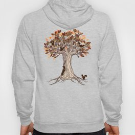Little Visitors - Autumn tree illustration with squirrels Hoody
