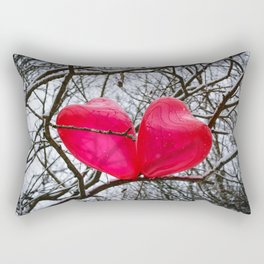 Two Little Hearts Kissing In A Tree Rectangular Pillow