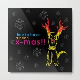 Neon Xmas Metal Print