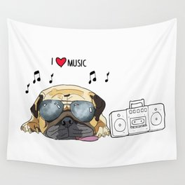 I love music-rock pug Wall Tapestry