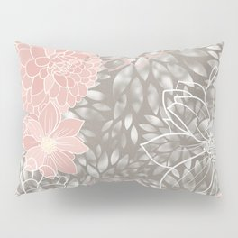 Floral Pattern Dahlias, Blush Pink, Gray, White Pillow Sham