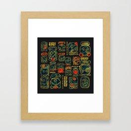 Maya Calendar Glyphs pattern Framed Art Print