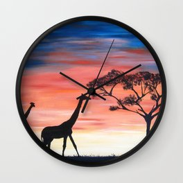 Africa Series - Seeking Shelter Before the Storm Wall Clock