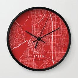 Salem Map, USA - Red Wall Clock