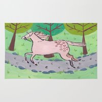 pony Area & Throw Rugs featuring Running Pony by Jeaninesart