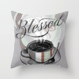 My Cup Overflows With Coffee Blessings Throw Pillow
