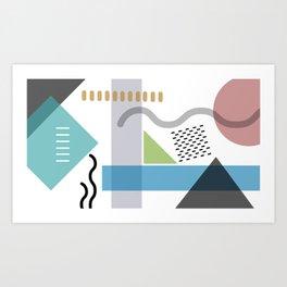 Geometric abstract art, pastel tones shapes and dots print Art Print