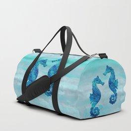 Blue Seahorse Couple Underwater Duffle Bag