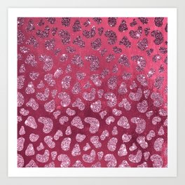 Abstract pink burgundy glitter gradient animal print Art Print