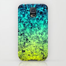 OMBRE LOVE Bold Beautiful Starry Night Glitter Abstract Painting Midnight Blue Mint Turquoise Yellow Galaxy S5 Slim Case