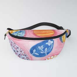 Easter Egg Watercolor Pattern Painting Fanny Pack
