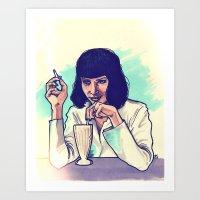 mia wallace Art Prints featuring Mia Wallace by ARTBYSKINGS