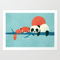 pandas Art Prints featuring Pandas by Jay Fleck