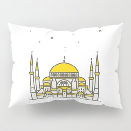 Hagia Sophia icon and vector. City travel landmark, tourist attractions in Istanbul Pillow Sham