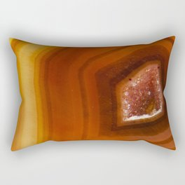 Orange Burnt Red Geode Raw Stone Crystal Agate Boho Hippie Fine Art  Print Rectangular Pillow