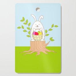 funny rabbit on the stump Cutting Board