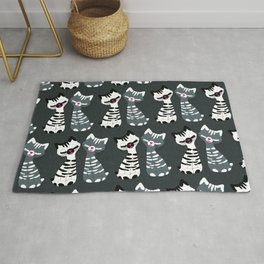 Kitschy Kitties in Black and White Rug