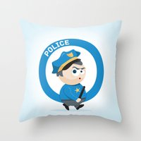 police Throw Pillows featuring Police by Emir Simsek
