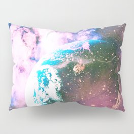 Space Earth Watercolor Pillow Sham
