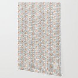 Orange and Grey Wheat Pattern Wallpaper